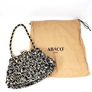 Abaco Paris Black Cream Gold Woven Leather Bag B20